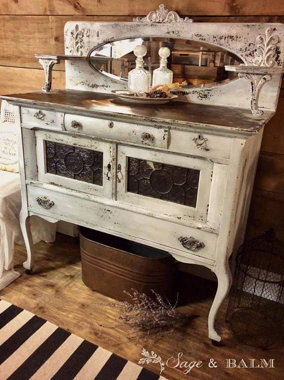 antiquepaintedsideboard