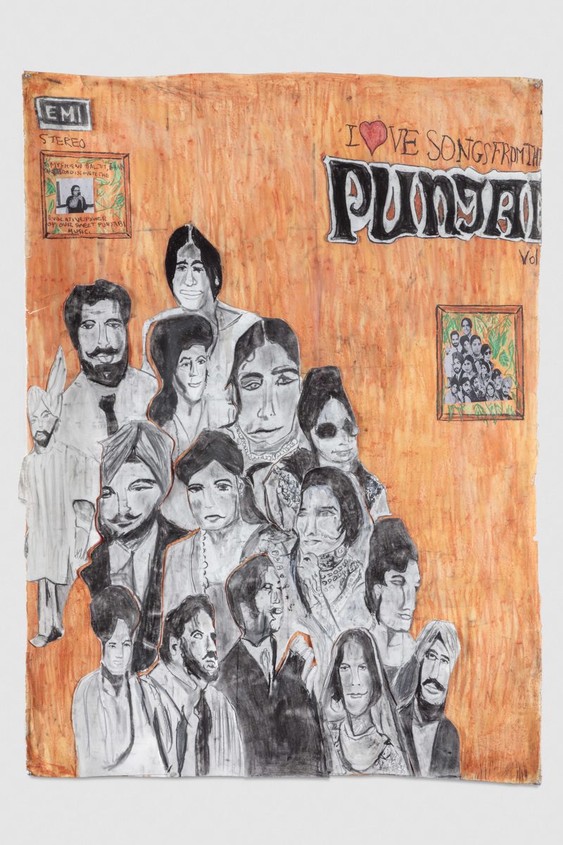 Jagdeep Raina.To my friend Baljit thank you. Lets rediscover the evocative power of our sweet Punjabi music 2015 mixed media on paper 68 x 50in