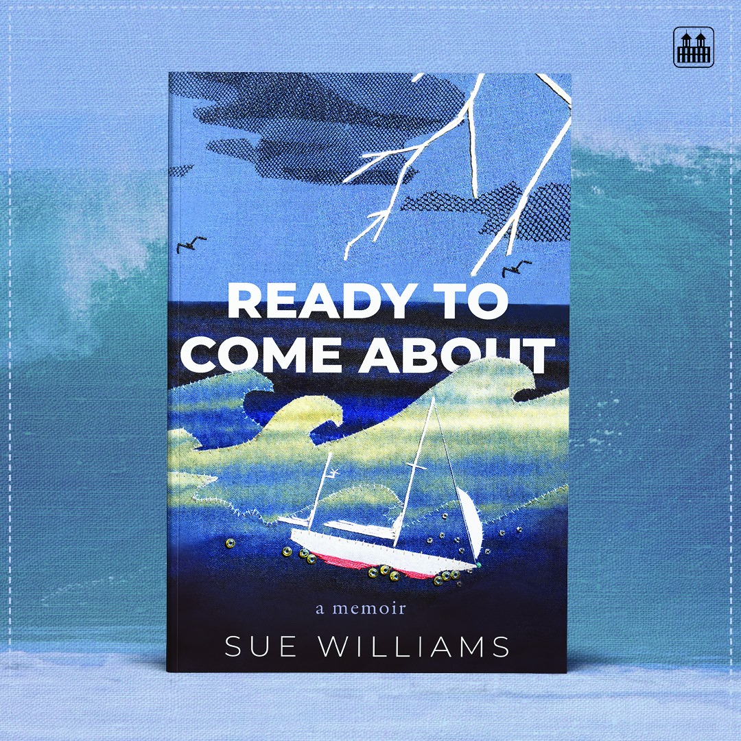 The cover features Sues applique of their sailboat Inia tossing on the Atlantic