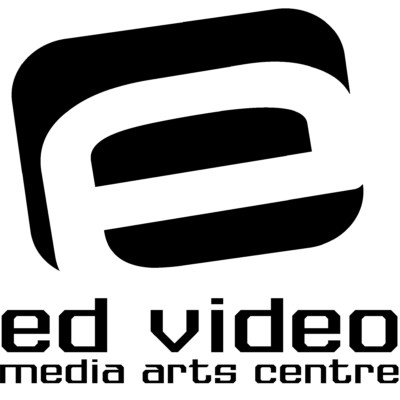 Black text on white background reads: Ed Video Media Arts Centre.